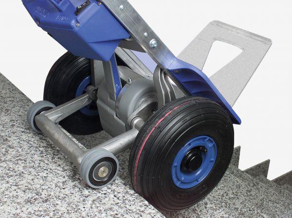 barra oscilante con las ruedas de apoyo frenadas hacia delante