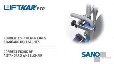 LIFTKAR PTR oruga subeescaleras - fijación correcta de una silla de ruedas estándar